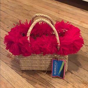 nannacay Bags - NWT Nannacay Straw Bag with Red Fringe Trim